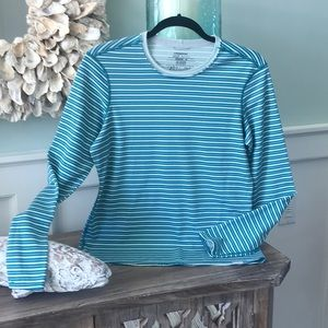 Sz med Patagonia polartec stripe teal long sleeve